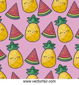 pattern of pineapples with watermelons kawaii character