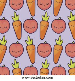 pattern of peaches with carrots kawaii characters