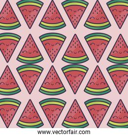 pattern of sliced of watermelons kawaii character