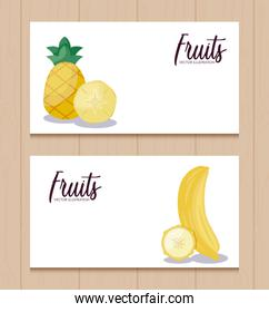 set of cards with fresh pineapples and bananas