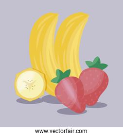healthy strawberries with bananas fruits