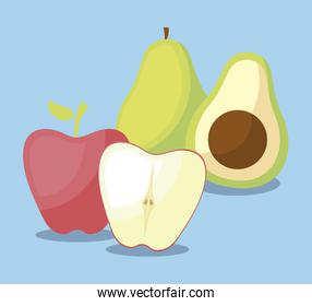 fresh avocados with apples fruits