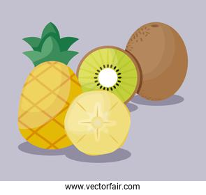 fresh kiwis with pineapples fruits healthy