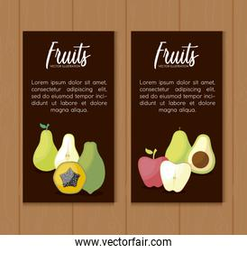 set cards with fresh pears and set fruits