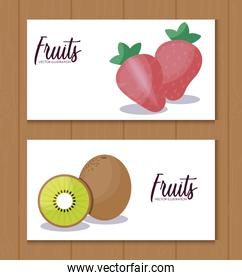set card with kiwi and strawberries fruits