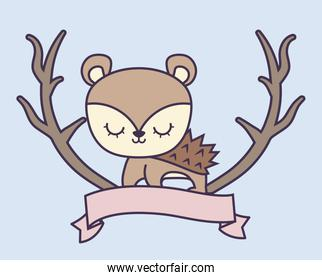 cute porcupine with ribbon and branches