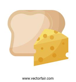 delicious cheese with bread isolated icon
