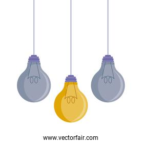 set of light bulbs hanging isolated icon