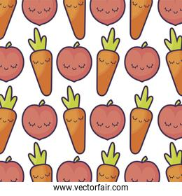pattern of peaches with carrots kawaii character