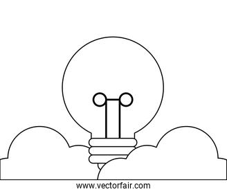 light bulb with clouds isolated icon