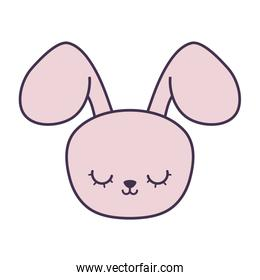 head of cute rabbit animal character
