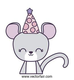 cute mouse animal with hat party