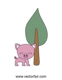 cute piggy animal with tree plant