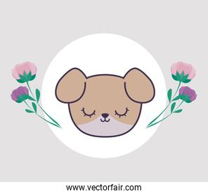 head of cute dog in frame circular with flowers
