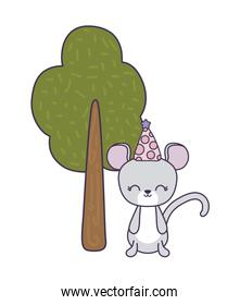 cute mouse with hat party and tree plant