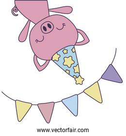 cute piggy with hat party and garland