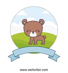 cute bear in landscape with frame and ribbon