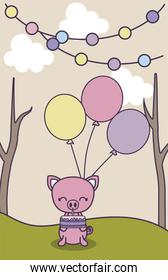 cute piggy in landscape with decoration of birthday