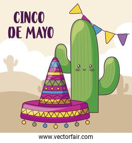 cinco de mayo celebration with cactus and mexican hat