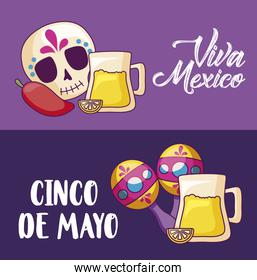 cinco de mayo celebration with beer and set icons