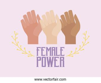 female power celebration card with hands fist