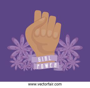 girl power celebration card with hand fist
