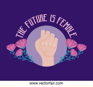 the future is female card with hand fist