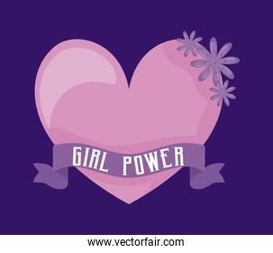 girl power celebration card with heart and flowers