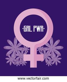 girl power card with gender female symbol
