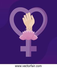 gender female symbol with hand fist and flowers