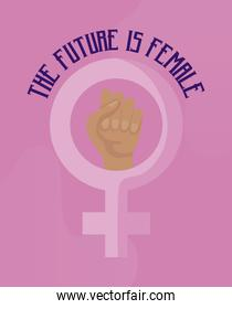the future is female card with gender female and hand fist