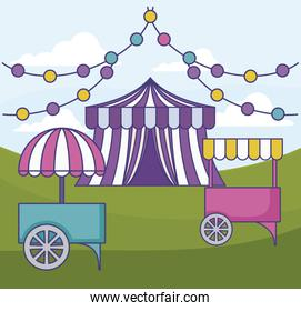 carnival kiosk with circus tent and garlands