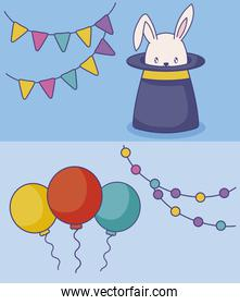 wizard top hat with balloons helium