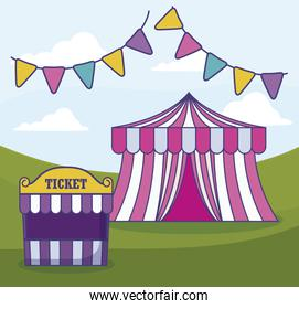 circus tent with ticket sale tent and garlands