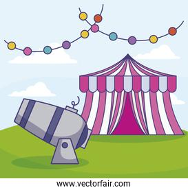 circus tent with cannon and garlands