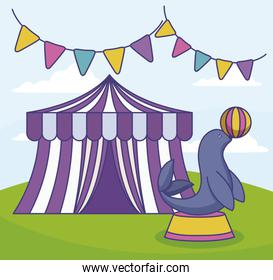 circus tent with seal and garlands