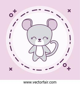 cute mouse animal with frame circular
