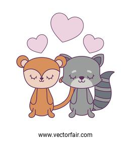 cute monkey with cat and hearts love