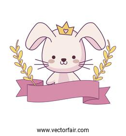 cute rabbit animal with ribbon and branches of leafs