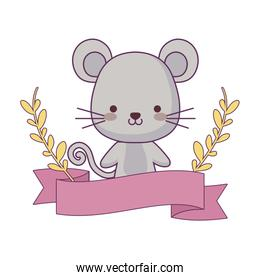 cute mouse animal with ribbon and branches of leafs