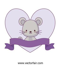 cute mouse animal with ribbon in frame