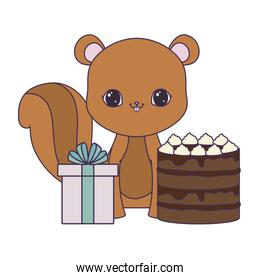 cute chipmunk with cake of birthday and gift box