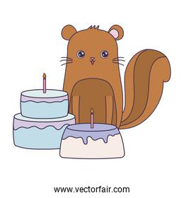 cute chipmunk with cakes of birthday