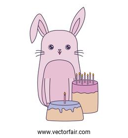 cute rabbit with cakes of birthday