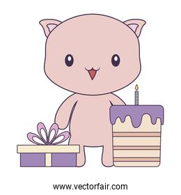 cute piggy with cake of birthday and gift box