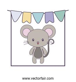 cute mouse animal with garlands hanging