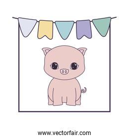 pretty piggy animal with garlands hanging
