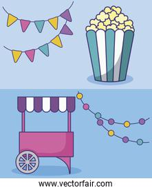 set of carnival kiosk with popcorn and garlands hanging