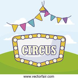 circus label with light and garlands hanging