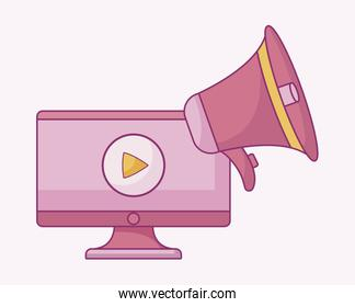 computer monitor with symbol play and megaphone